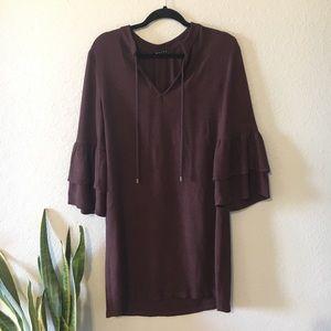 Maven West | Anthropologie | rusty brown dress